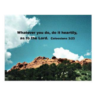 Colossians 3:23 Whatever you do, do it heartily... Postcard
