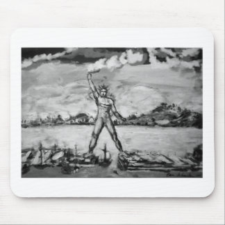 Colossus of Rhodes Black and White Mouse Pad