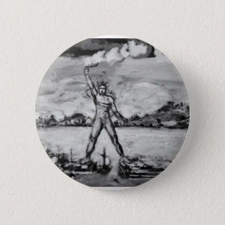 Colossus of Rhodes Black and White Pinback Button