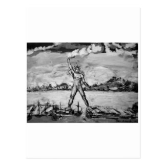 Colossus of Rhodes Black and White Postcard