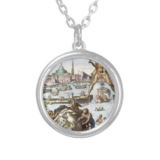Colossus of Rhodes by Maerten van Heemskerck Silver Plated Necklace