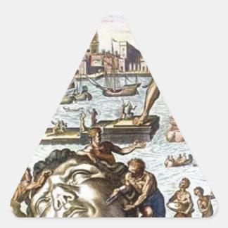 Colossus of Rhodes by Maerten van Heemskerck Triangle Sticker