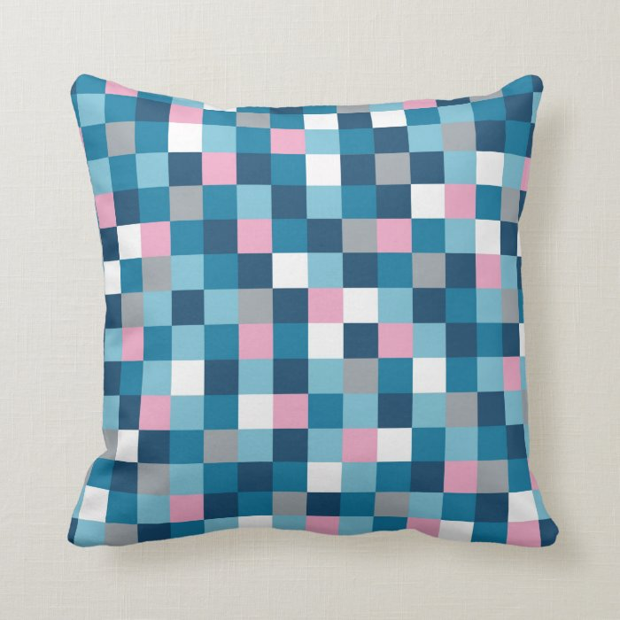 Colour Block Blue Pink Throw Pillow