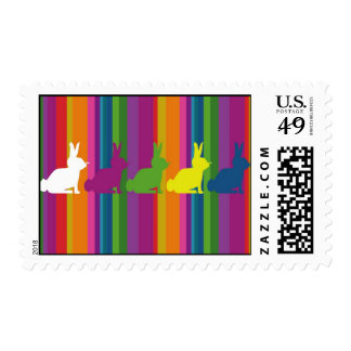 Colour bunnies postage stamp