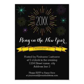 Colour Bursts New Year's Eve Party Invitation