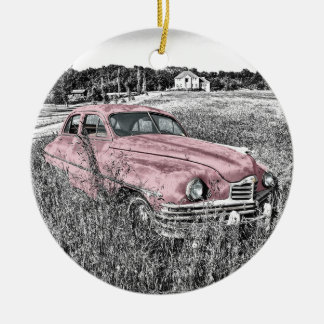 Colour Isolated Vintage Car in Field Ceramic Ornament