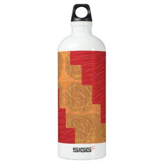 Colour joy,GOLD CIRCLES UNIQUE RED SILKEN BASE Aluminum Water Bottle