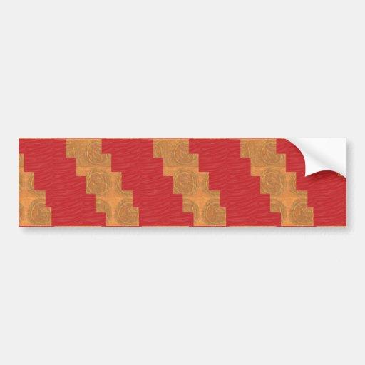 Colour joy,GOLD CIRCLES UNIQUE RED SILKEN BASE Bumper Stickers