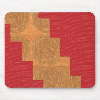 Colour joy,GOLD CIRCLES UNIQUE RED SILKEN BASE Mouse Pad