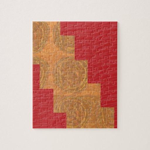 Colour joy,GOLD CIRCLES UNIQUE RED SILKEN BASE Jigsaw Puzzle