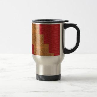 Colour joy,GOLD CIRCLES UNIQUE RED SILKEN BASE Travel Mug