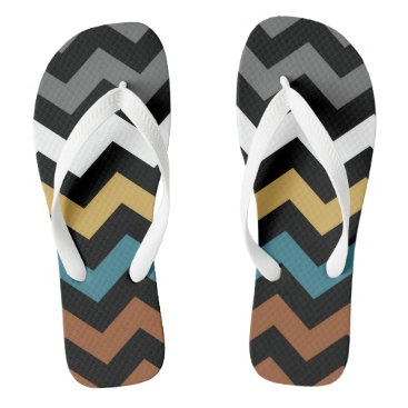 Beach Themed Colour Mix Zig Zag Pattern Flip Flops