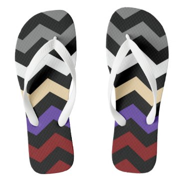 Beach Themed Colour Mix Zig Zag Pattern Flip Flops 2