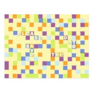Colour Mosaic Save the Date Postcard