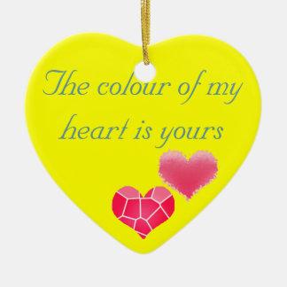 Colour of my heart ceramic ornament