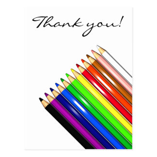 colour pencil crayons postcard