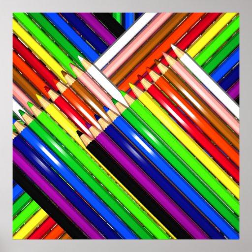 colour pencil crayons poster