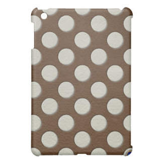 Colour polka dots on brown leather texture iPad mini covers