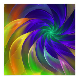 Colour swing, fractal abstract art poster