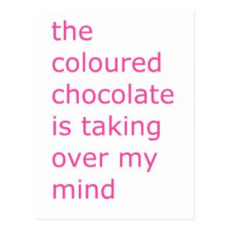 coloured chocolate postcard