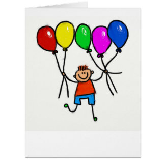 Coloured drawing with balloons card