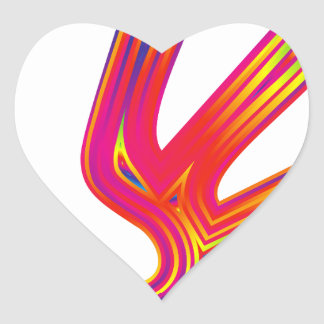 Coloured Flame Design Heart Sticker