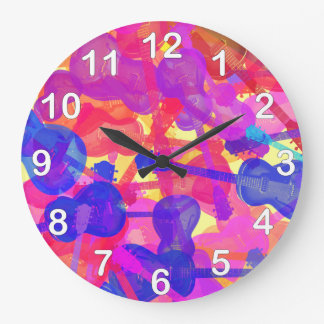 Coloured Guitar Collage Wall Clock