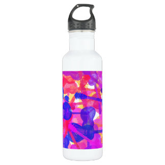 Coloured Guitar Collage Water Bottle