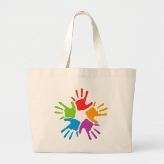 Coloured Hands Large Tote Bag