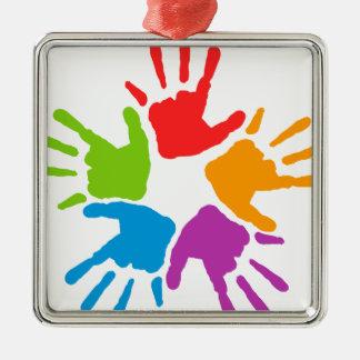 Coloured Hands Metal Ornament