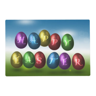 Coloured Happy Easter Eggs - Laminated Placemat