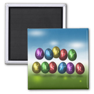 Coloured Happy Easter Eggs - Magnet