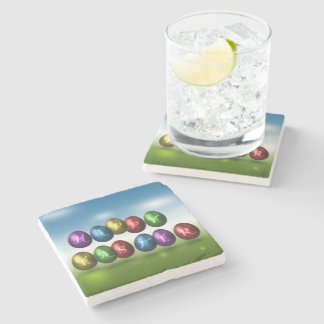 Coloured Happy Easter Eggs - Marble Stone Coaster