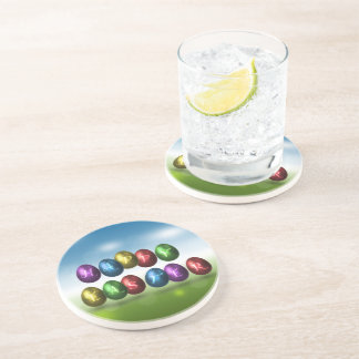 Coloured Happy Easter Eggs - Sandstone Coaster