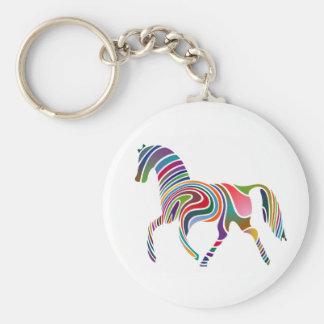 Coloured Horse Basic Round Button Keychain