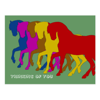Coloured Horses in Sillouette, postcard