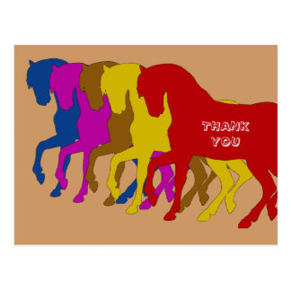Coloured Horses in Sillouette, thank you card