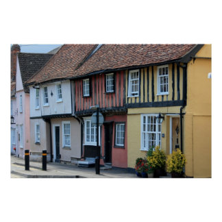 Coloured houses at Saffron Walden, Essex, UK Poster