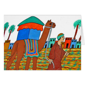 Coloured Illustration of Camel and Arab Card