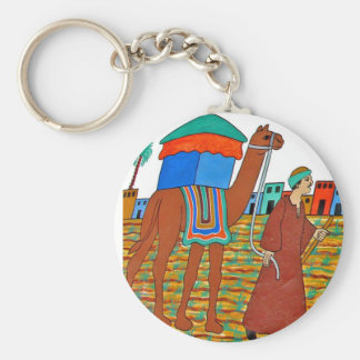 Coloured Illustration of Camel and Arab Keychain