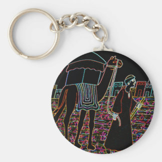 Coloured Illustration of Camel and Arab Outline Key Chains