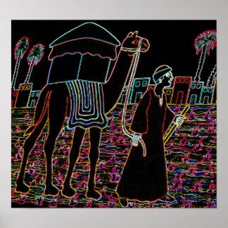 Coloured Illustration of Camel and Arab Outline Poster