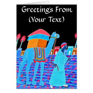 Coloured Illustration of Camel and Arab (Stylised) Greeting Card