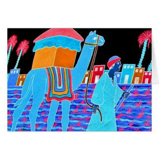 Coloured Illustration of Camel and Arab (Stylised) Card