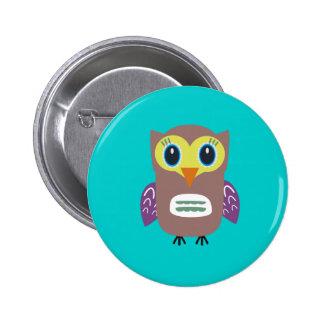 Coloured Owl Button