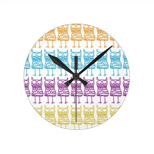 Coloured Owls Wall Clock
