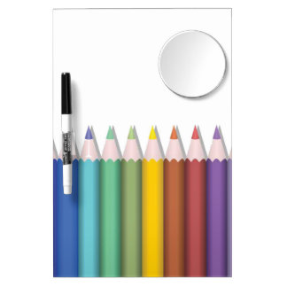 Coloured Pencil Designed Dry-Erase Board