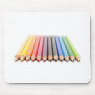Coloured pencils in a rainbow mouse pad