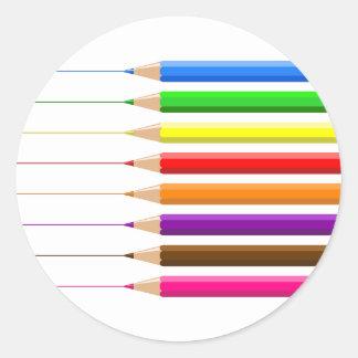 Coloured Pencils Round Stickers