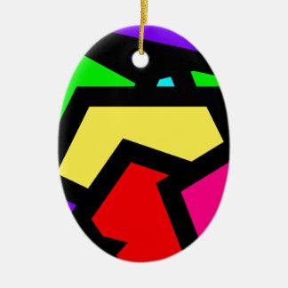 Coloured Pentagon Abstract Ceramic Ornament